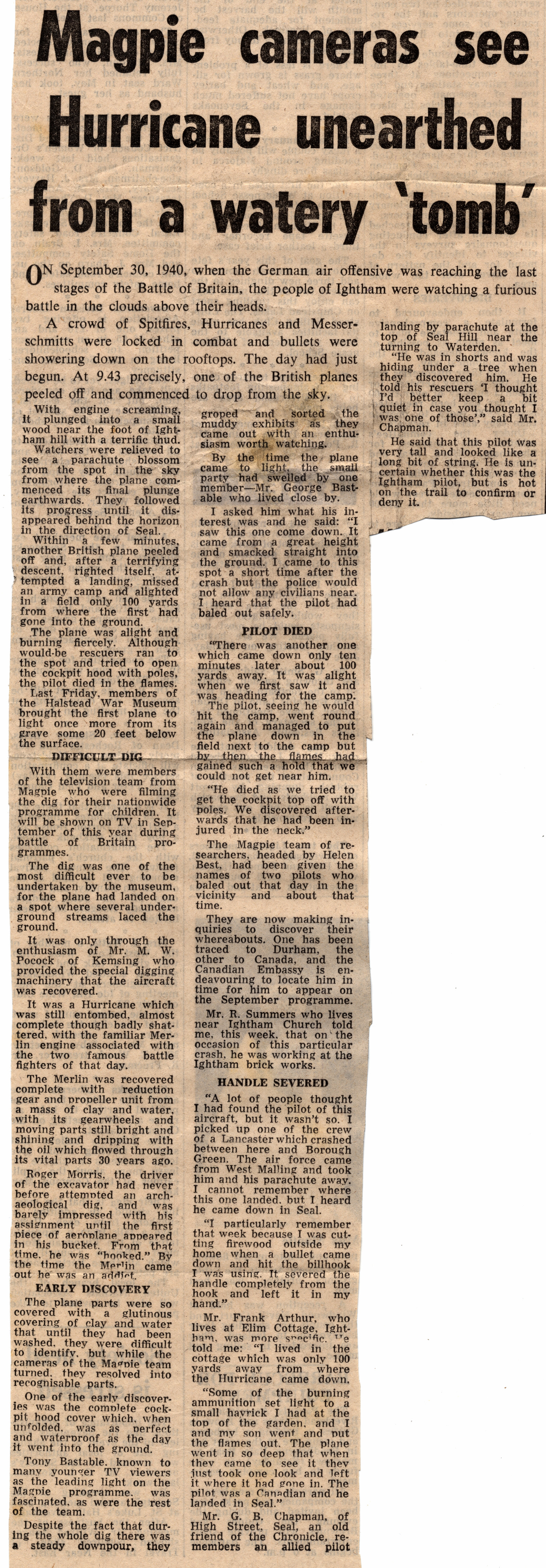 Sevenoaks Chronicle Article (June 1971)