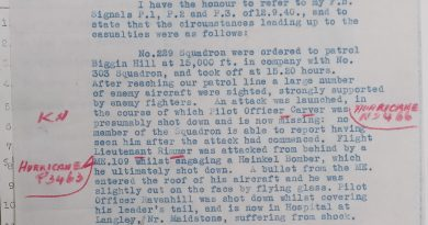 Added Air Ministry Accident Branch Report 12th September 1940