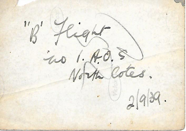 """B"""" Flight – No.1 A.O.S. (Air Observer School) 02/09/1939 (back of photo)"""