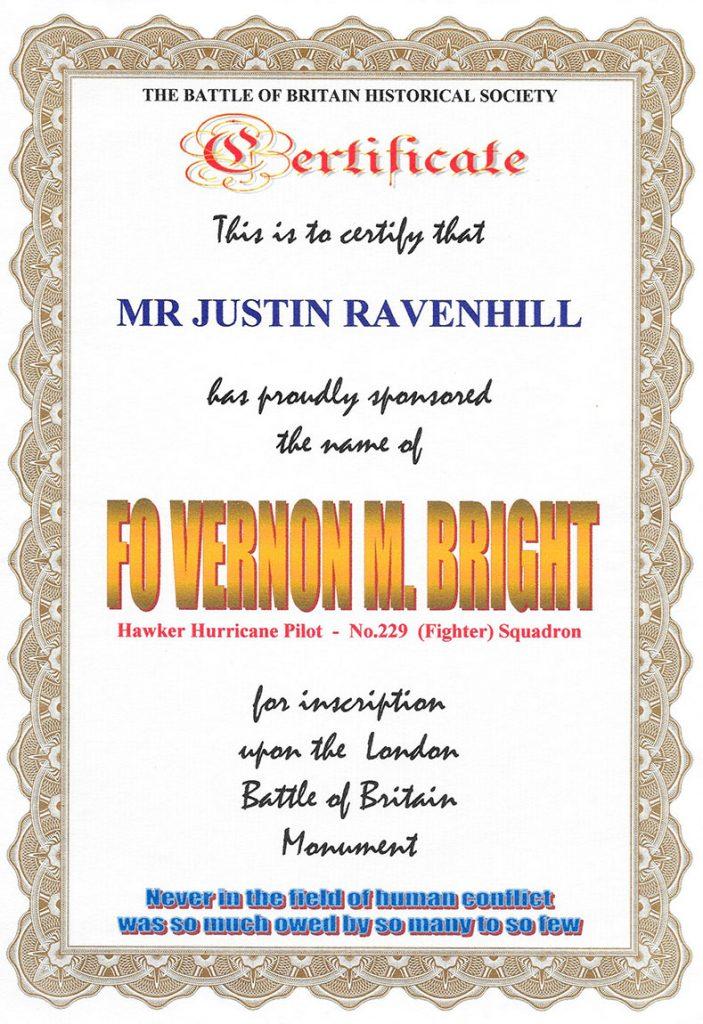 Battle of Britain Historical Society Sponsorship Certificate