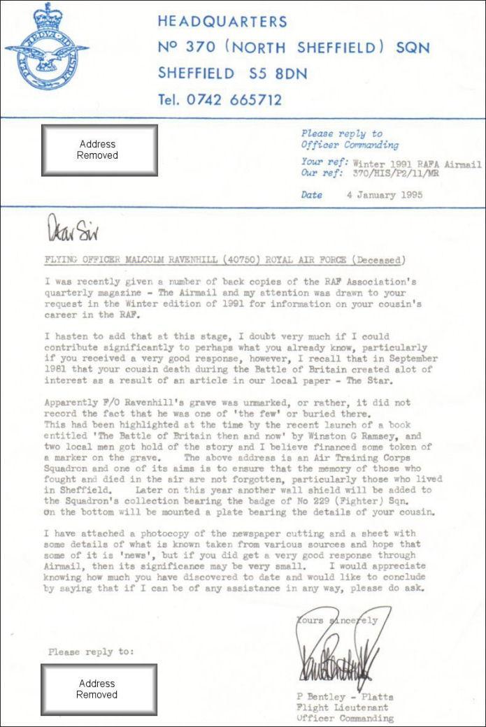 Letter from Flight Lieutenant P. Bentley-Platts