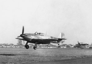 Hurricanes taking off from RAF Northolt, 1940