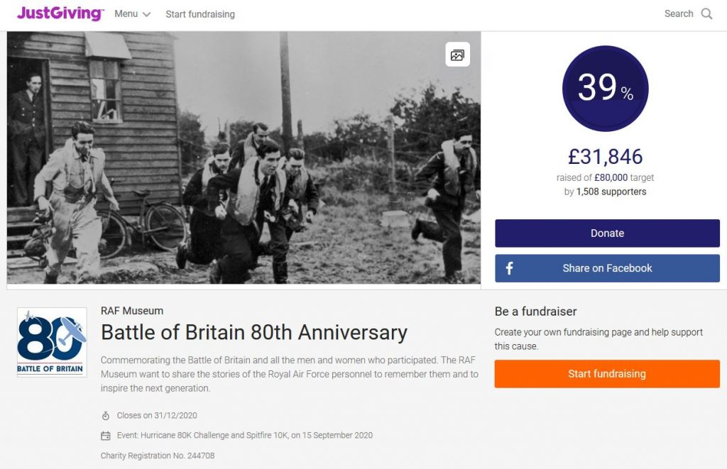 RAF Museum JustGiving Fundraisiing Page